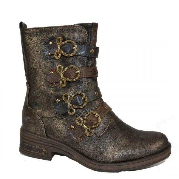 Mustang Damen Stiefel Stiefelette Schuh Schnürstiefel Bronze