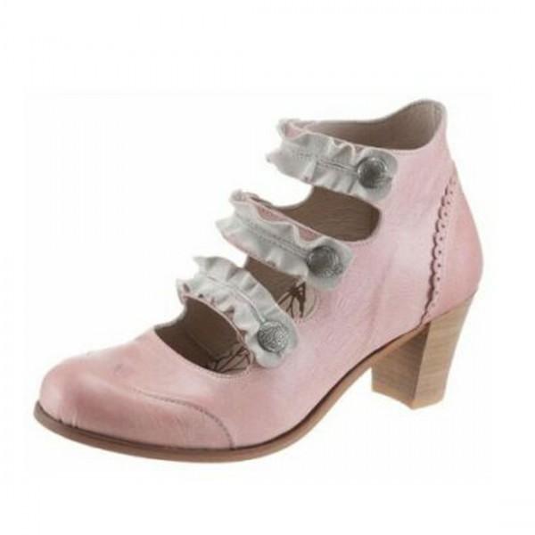Dkode Damen Leder Schuhe Stiefel Stiefelette Pumps Rosa