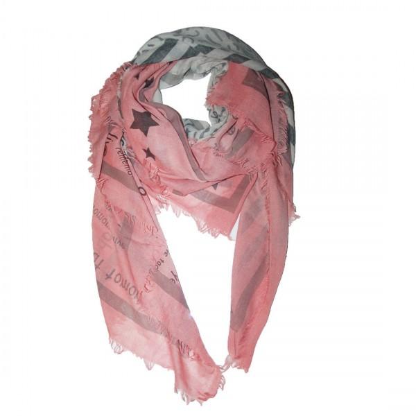 Damen Schal Modischer Loop Tuch Stern Rosa Grau Motive