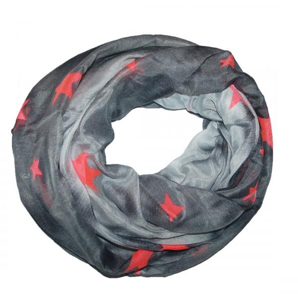Damen Schal Modischer Loop Tuch Stern Schwarz Grau Motive