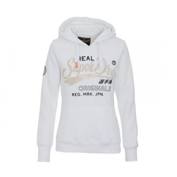 Superdry Damen Hoodie Sweatshirt Pullover mit Applikation Kapuzenpullover Weiß