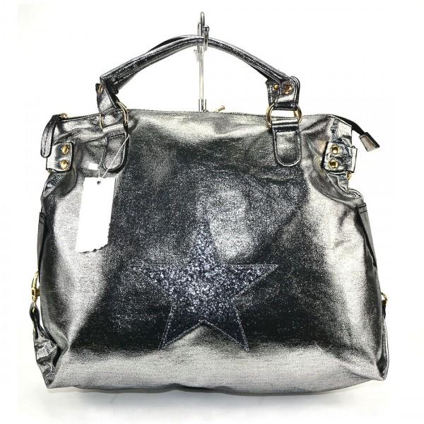 Damen Tasche Umhängetasche XXL Shopper Handtasche Silver Black