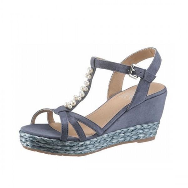 Arizona Damen Sandaletten Keilsandalen Keil Sandalen Schuhe Blau Türkis