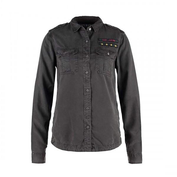 Superdry Surplus Damen Bluse Military Shirt Army Hemd Denim Black Schwarz