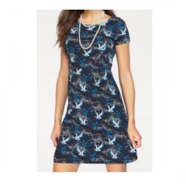 Tom Tailor Damen Sommer Kleid Druckkleid Kurzarm mit Muster Blau