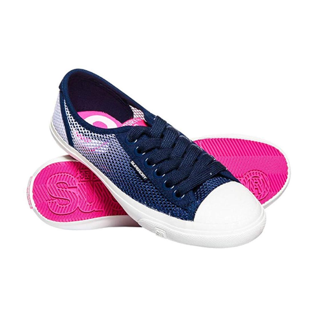 Superdry Damen Sneaker low Pro Mesh Slip On Sommer Schuhe Blau Pink