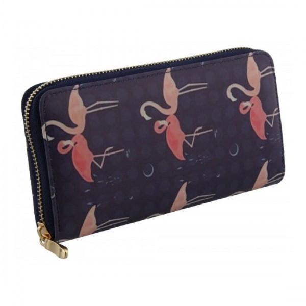 Damen Geldbörse Portmonee Brieftasche Flamingo Blau