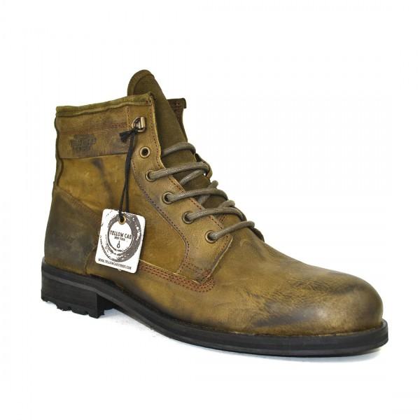 Yellow Cab Stiefel Leder Boots Herren Biker Schuh Moss
