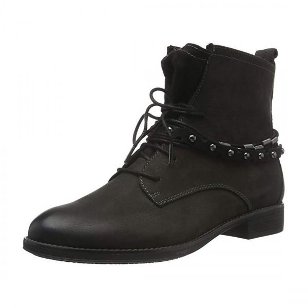 Tamaris Damen Schuhe Stiefeletten Combat Boots Stiefel Schwarz