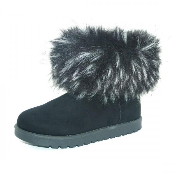 Damen Stiefelette Winter Boots Schwarz Fell Schlupfstiefel