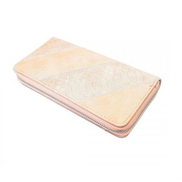 Damen Geldbörse Portmonee Brieftasche Metallic Look Aprikose