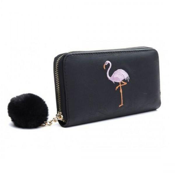 Damen Geldbörse Portmonee Brieftasche schwarz Flamingo Pink