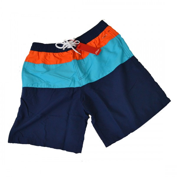 s.Oliver Herren Boardshorts Badeshorts Schwimmshorts Shorts Blau Türkis Orange