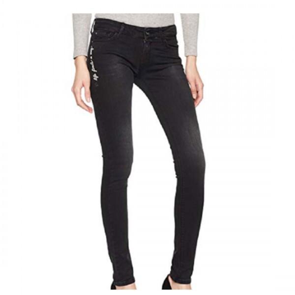 Replay Damen Skinny Slim Straight Luz Jeans Hose schwarz