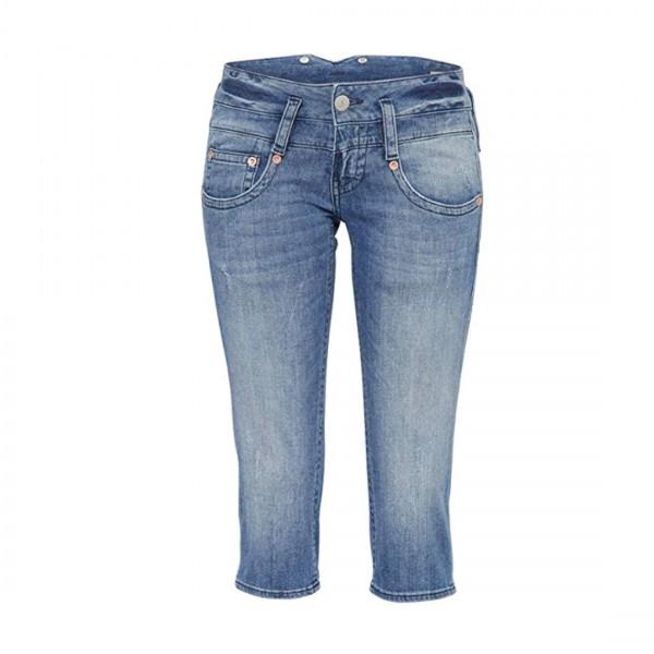 Herrlicher Damen Jeans Shorts Pitch Low Waist Hose Blaustoff Blue Jeans bloom Blau