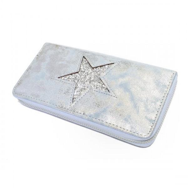 Damen Geldbörse Portmonee Brieftasche Metallic Look Glitzer Silber Blau