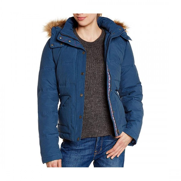 Roxy Damen Jacke Parka Mantel Winterparka mit Kapuze Blau