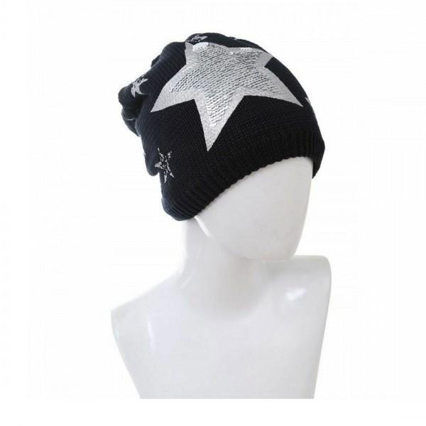 Damen Mütze Modische Beanie Glitzer Wintermütze Stern