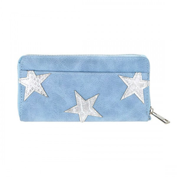Damen Geldbörse Portmonee Brieftasche Blau Sterne metalic