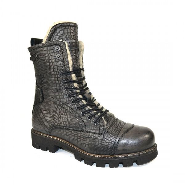 Yellow Cab Damen Military W Y28151 Leder Stiefel Biker Boots Schuh Black
