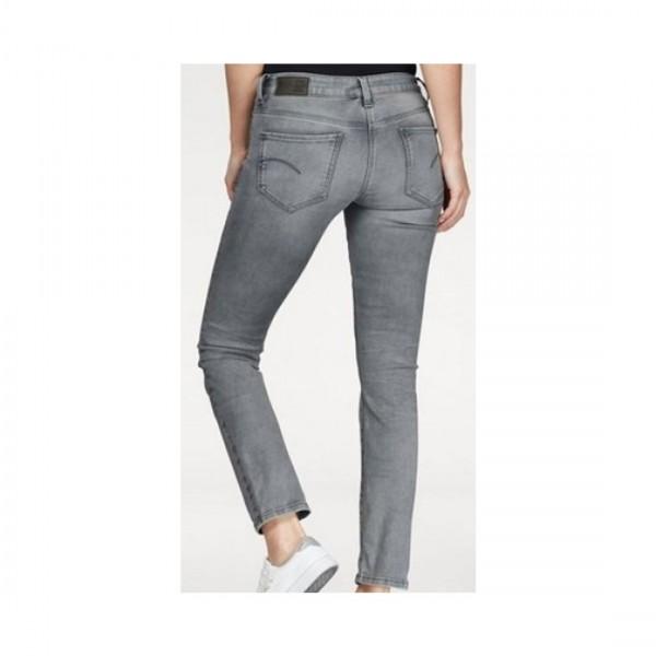 G-Star Raw Damen Jeans Midge Mid Waist Straight Grey Grau