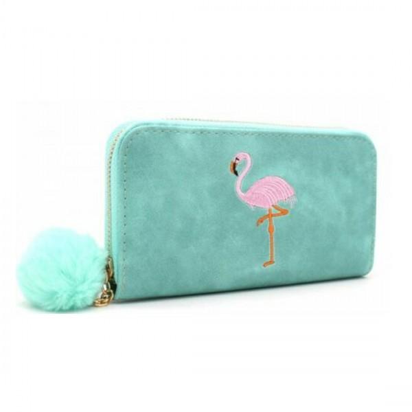 Damen Geldbörse Portmonee Brieftasche türkis Flamingo Pink