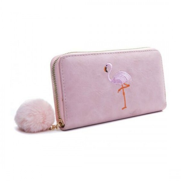 Damen Geldbörse Portmonee Brieftasche rosa Flamingo Pink
