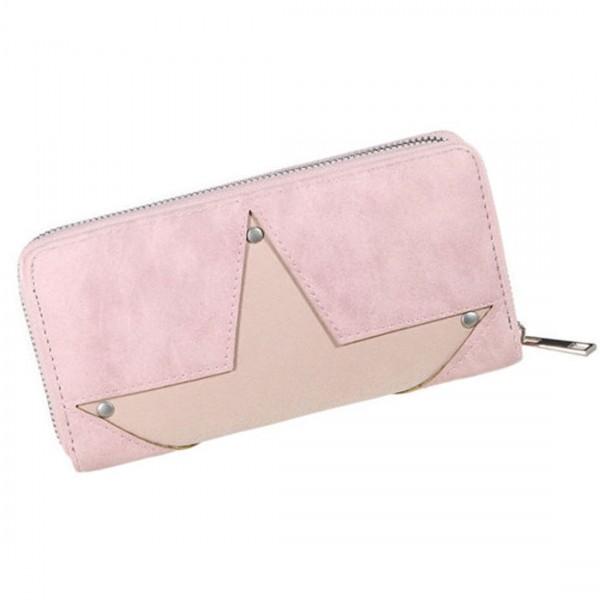 Damen Geldbörse Portmonee Brieftasche Stern Rosa