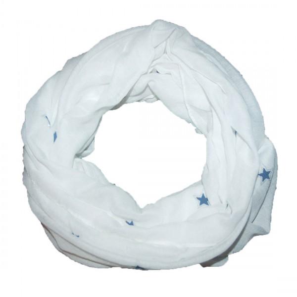 Damen Schal Modischer Loop Tuch Stern Weiß Motive