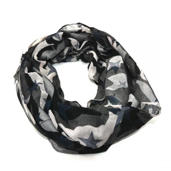 Stylischer Damen Camouflage Camou Army Tarn Sterne Schal Tuch Grau