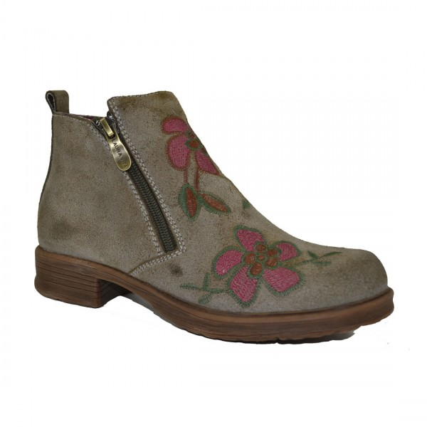 Laura Vita Damen Stiefel Leder Stiefelette Schuh Boots Schuhe Blumen Khaki Used