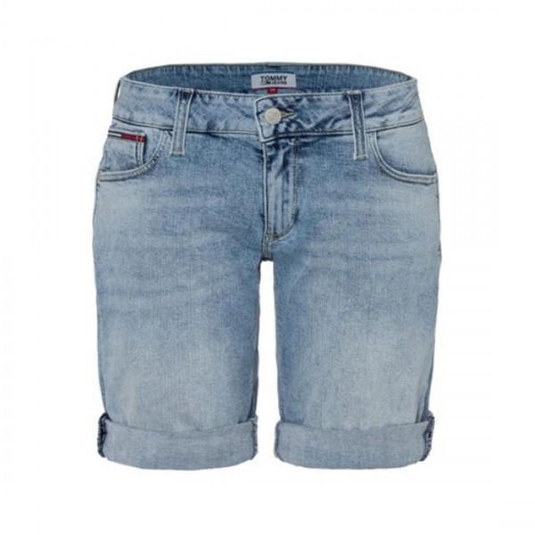 Tommy Jeans Damen Jeans Shorts Classic Denim Bleached Waschung Blau