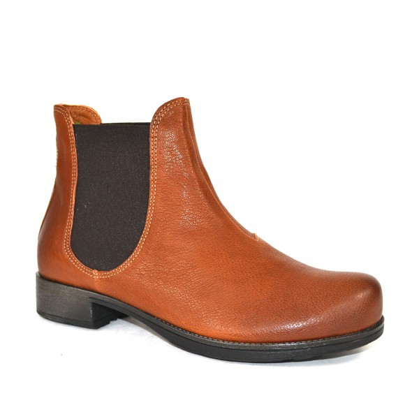 Think! Denk Chelsea Boots Stiefeletten Leder Damen Stiefel Cognac