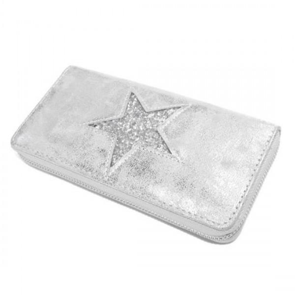 Damen Geldbörse Portmonee Brieftasche Metallic Look Glitzer Silber