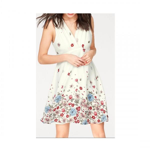 Pepe Jeans Damen Kleid Alba Kleider Cocktailkleid Sommerkleid Weiß Blumen
