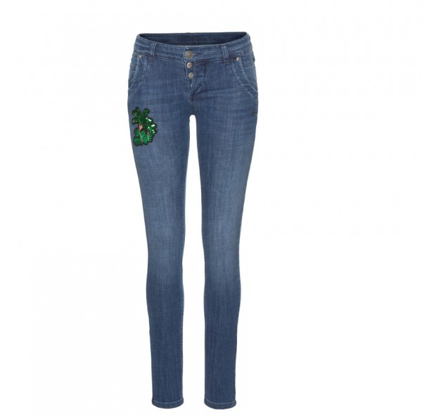 Glücksstern Damen Jeanshose Hose Petra Palm-blau