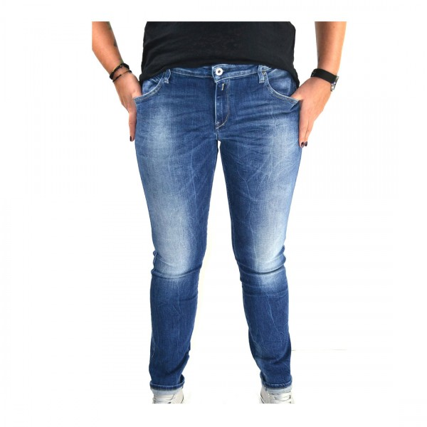 Replay Damen Hose Jeans Katewin Slim Fit Blau - Mid Blue