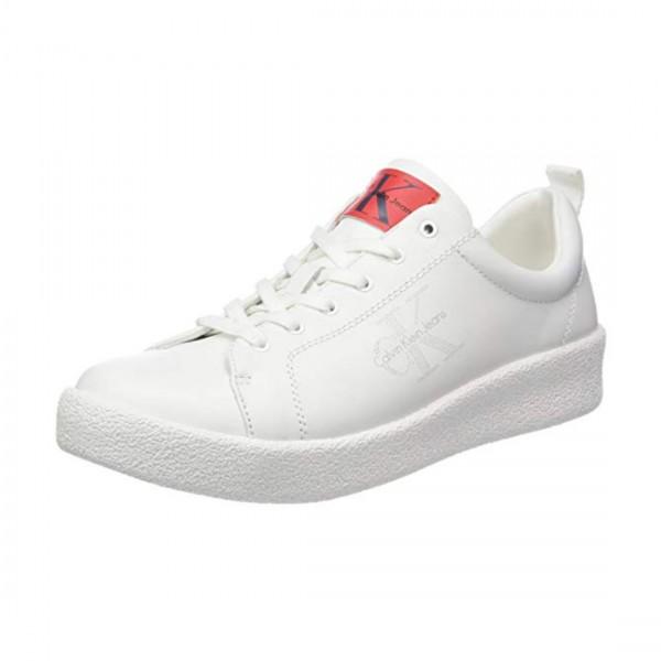 Calvin Klein Jeans Herren Gerald Nappa Leder Sneaker Weiß