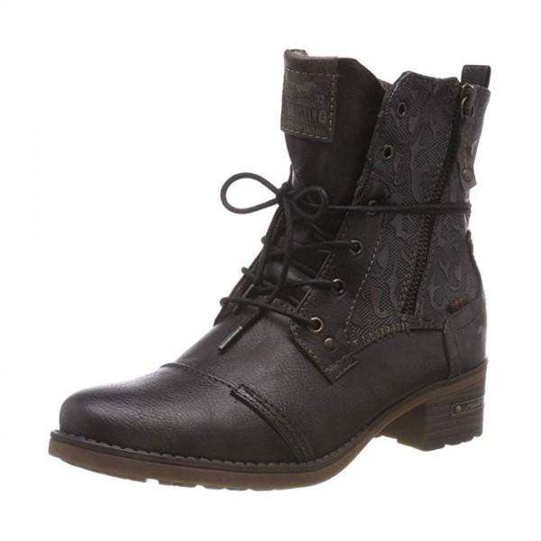Mustang Damen Stiefeletten Schnürstiefel Stiefel Boots Mokka Braun