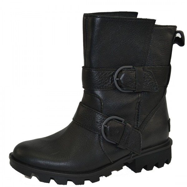 Sorel Phoenix Moto Damen Leder Boots Stiefel Stiefeletten Waterproof Schuhe Schwarz