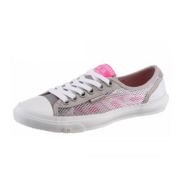 Superdry Damen Sneaker low Pro Mesh Slip On Sommer Schuhe Grau Pink
