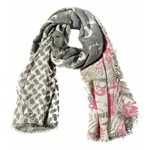 Damen Schal Halstuch Tuch Flamingos Sommer Grau Weiss Pink