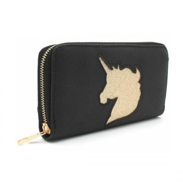 Damen Geldbörse Portmonee Brieftasche Einhorn Unicorn Schwarz