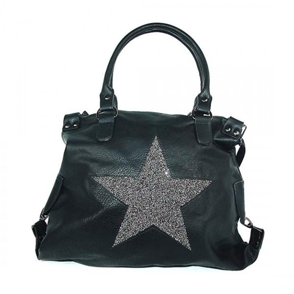 Damen Shopper Tasche Umhängetasche Schultertasche Henkeltasche Stern