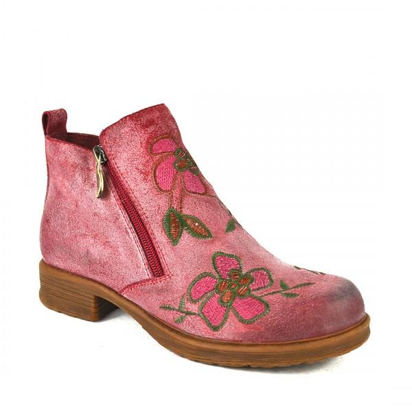 Laura Vita Stiefelette Chelsea Ankle Damen Boots Blumen Bordeaux
