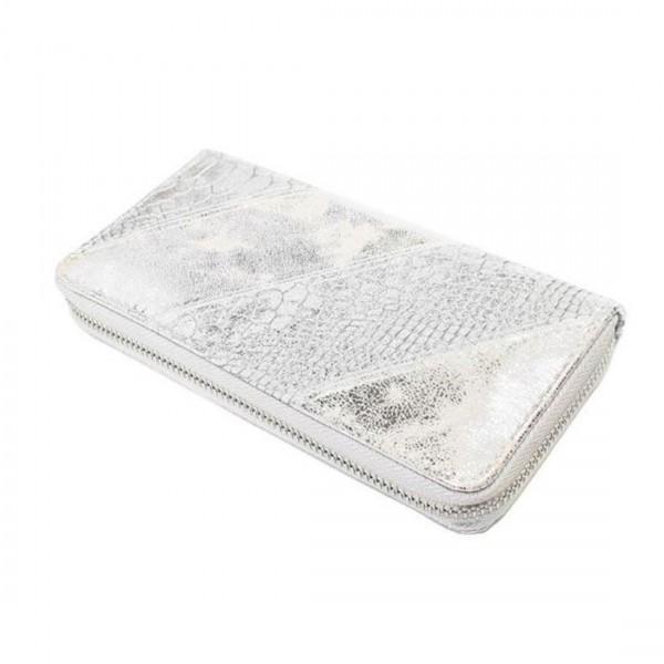 Damen Geldbörse Portmonee Brieftasche Metallic Look Silber