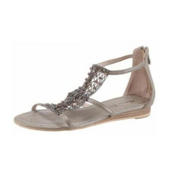 Alma en Pena Damen Damen Sandale Sandalette Sommerschuhe Taupe Metalic