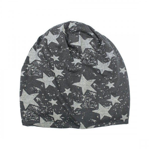 Unisex Mütze Modische Beanie Sternenhimmel grau schwarz Sterne