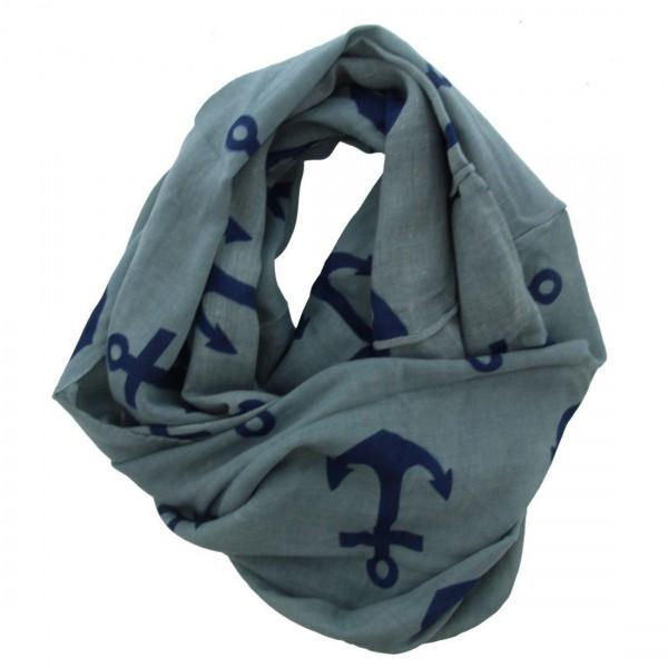 Stylischer Damen Anker Maritim Anchor Schal Tuch Loop Blau