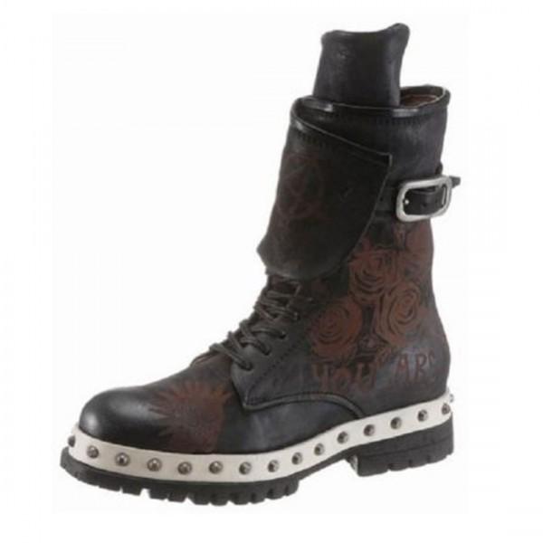A.S.98 Airstep Damen Leder Stiefel Biker Boots Schuhe Stiefeletten schwarz